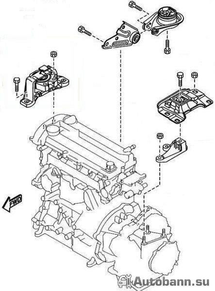 замена подушки двигателя авто Форд Фокус 2