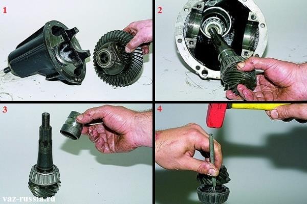 Снятие ведомой шестерни и вынимание ведущий из картера редуктора и снятие с неё распорной втулки и кольца заднего подшипника