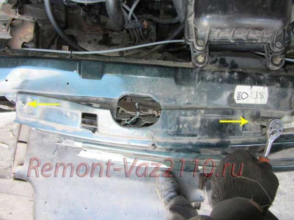 открутить решетку радиатора на ВАЗ 2110-2112