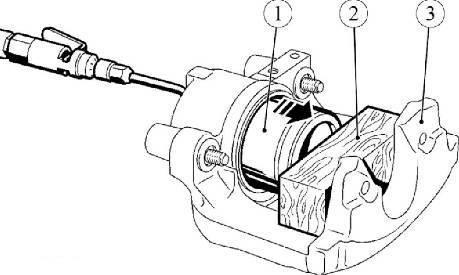Снятие поршня с помощью струи сжатого воздуха в суппорте Lada Largus