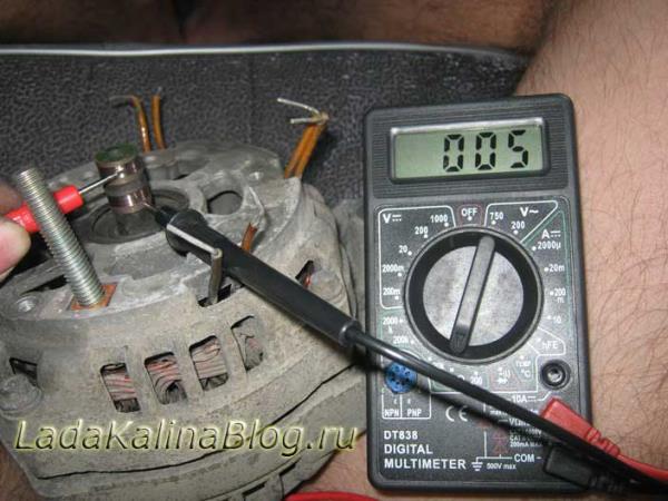 проверка обмоток ротора на генераторе Лады Калины