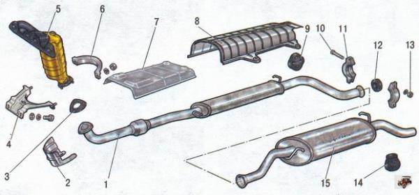 Особенности конструкции система выпуска отработавших газов Лада Калина Раздел 4. Двигатель автомобиля Лада Калина / Lada Kalina