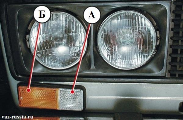Подфарник и на какие части он разделён. Правая часть подфарника которая указана буковой А является габаритным светом, а левая которая указана буквой Б является поворотником