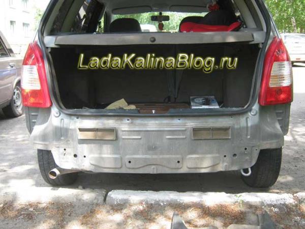 Лада Калина универсал без усилителя заднего бампера