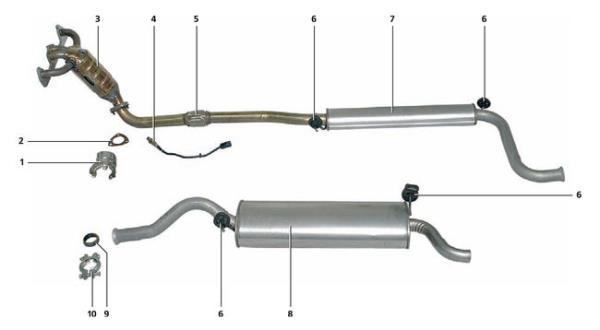 Описание конструкции системы выпуска отработавших газов Lada Kalina 1117 2004 - 2013
