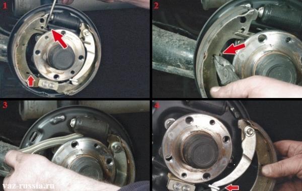 Снятие задней и передней тормозной колодки