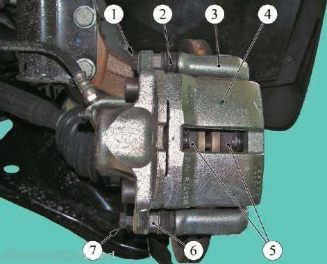 Детали переднего суппорта тормозной системы Lada Largus (К7М)