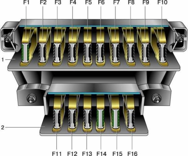 Схема блока старого образца, установленного в автомобиле ВАЗ 2106
