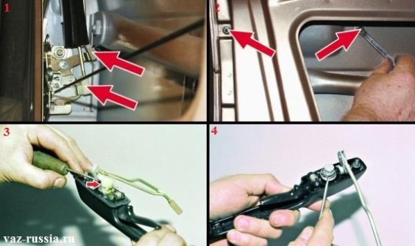 Отсоединение тяг от внутреннего замка и снятие наружной ручки открывания двери и извлечение из неё личинки