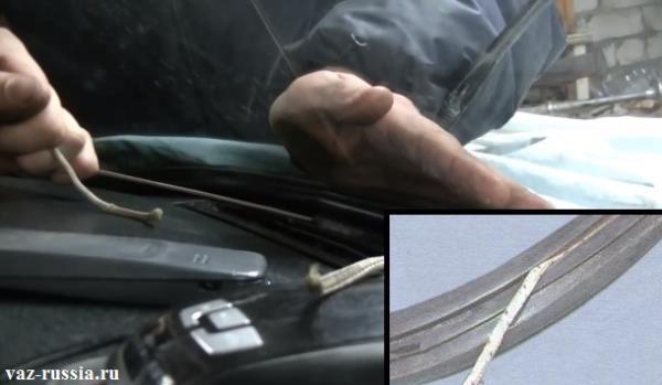 Установка лобового стекла с помощью помощника и шнура