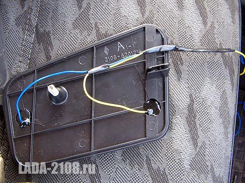 Зеркальный элемент с обогревом с подключенными проводами