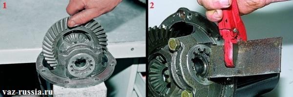 Проверка ведомой шестерни на люфт и регулировка этого люфта при помощи специальной пластины и регулировочных гаек