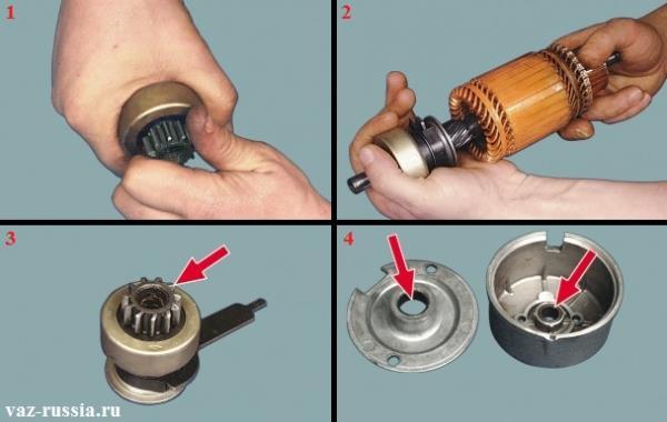 Проверка вращения шестерни и проверка её перемещения на валу якоря