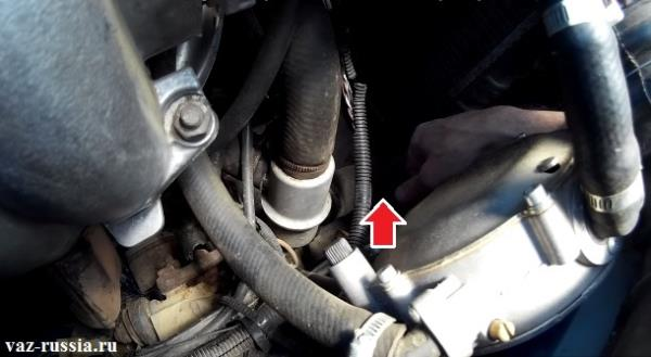 Стрелкой указан нижний патрубок который нужно трогать и следить за его температурой, если двигатель будет либо же быстро, либо же долго греться