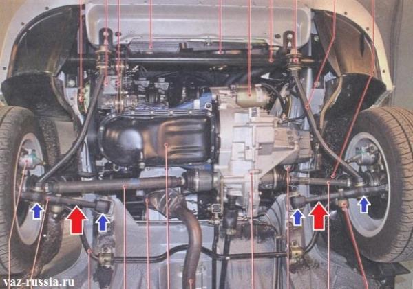 Рычаги передней подвески показаны красными стрелками и места установки сайлентблоков указаны синими стрелками
