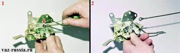 Снятие стопорного штифта и снятие тяги с внутреннего замка