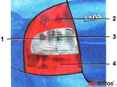 Задний фонарь автомобиля с кузовом седан