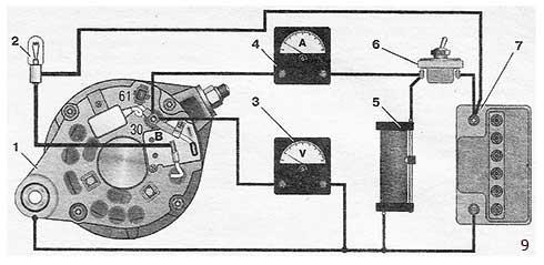 Схема соединений для проверки генератора на стенде