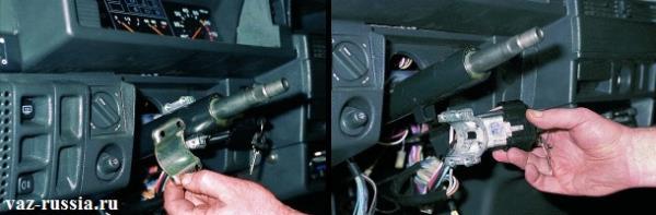 На левом рисунке происходит снятие скобы с рулевой колонки. А на правом происходит снятие самого замка, со всё той же рулевой колонки.
