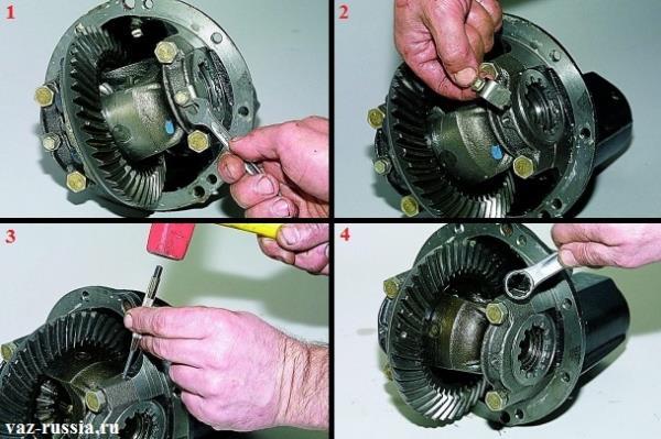 Снятие стопорной пластины и нанесение меток на крышки подшипников, чтобы понимать какая крышка куда устанавливается