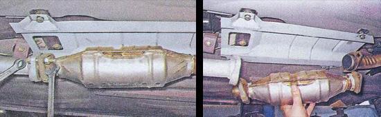 снятие каталитического нейтрализатора ваз 2107