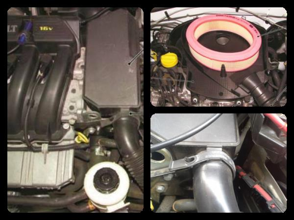 Двигатель K4M, фильтрующий элемент, глушитель впуска