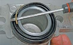 Снятие стопорного кольца пыльника тормозного цилиндра суппорта Лада Гранта (ВАЗ 2190)