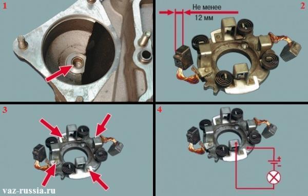 Осмотр втулки находящейся в картере сцепления и по необходимости её замена, а так же проверка всех щёток щёткодержателя и их опор