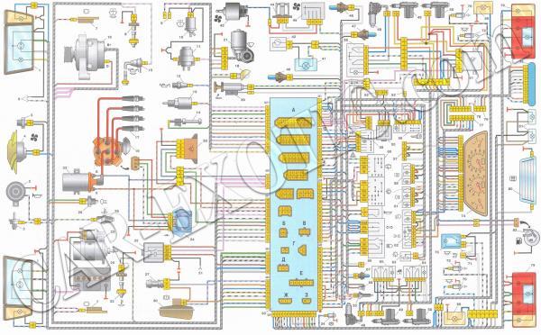 Схема проводки ВАЗ 21099 высокая панель