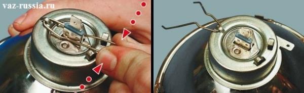 Сжатие пальцами руки двух защёлок которые крепят лампочку в фаре, а после сжатие откидывание данной защёлки в заднюю часть, чтобы она не мешала снятию лампы