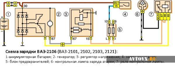Реле зарядки электрическая схема ВАЗ 2106