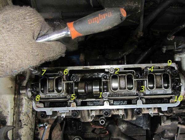Последовательность затяжки гаек крепления корпусов подшипников распредвала 8-клапанного двигателя Лада Гранта (ВАЗ 2190)