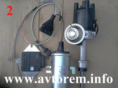 Катушка, распределитель, коммутатор и провода бесконтактного зажигания