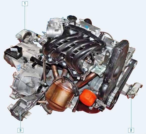 Расположение опор двигателя Лада Гранта (ВАЗ 2190)