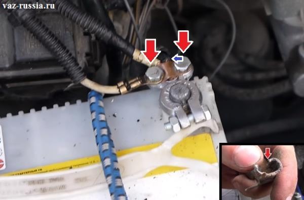 Разрезанная клемма и её снятие, а так же установка новой клеммы