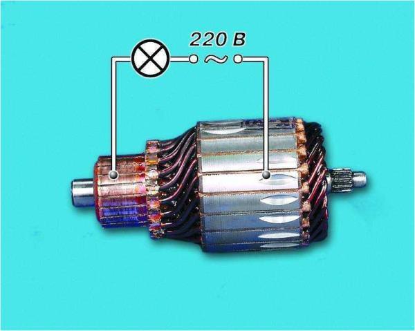 Схема проверки с помощью контрольной лампы состояния обмотки якоря стартера Лада Гранта (ВАЗ 2190)