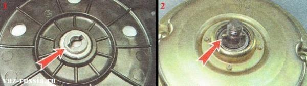 Штифт присутствующий на электродвигателе и паз присутствующий на крыльчатки