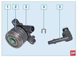 Элементы рабочего цилиндра и подшипника выключения сцепления Lada Largus