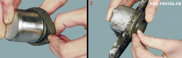 Установка защитного чехла в проточку на поршне и дальнейшая установка поршня в цилиндр