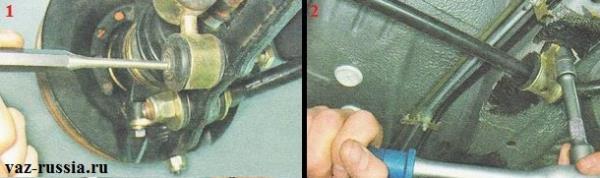 Выбивание болта из стойки стабилизатора и отворачивание гаек крепления стабилизатора в средней части