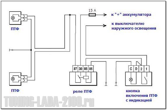 Схема подключения противотуманок через реле 24 вольта