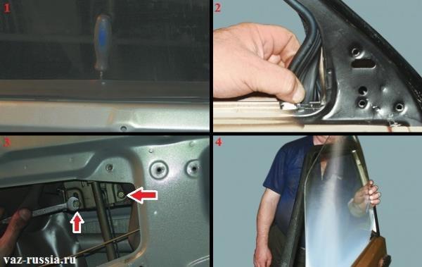 Фиксирование отвёрткой стекла и выворачивание болтов которые его обойму крепят к стеклоподъёмнику и после чего вынимание уплотнительных резинок и его снятие