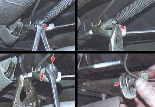 меняем трос стояночного тормоза автомобиля ваз 2106