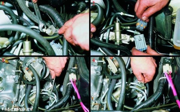 Разъединение между собой топливных трубок, а так же колодки и разъёма проводов и снятие прижимной пластины