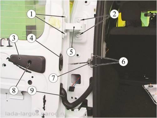 Крепление ограничителя погрузочной двери Lada Largus