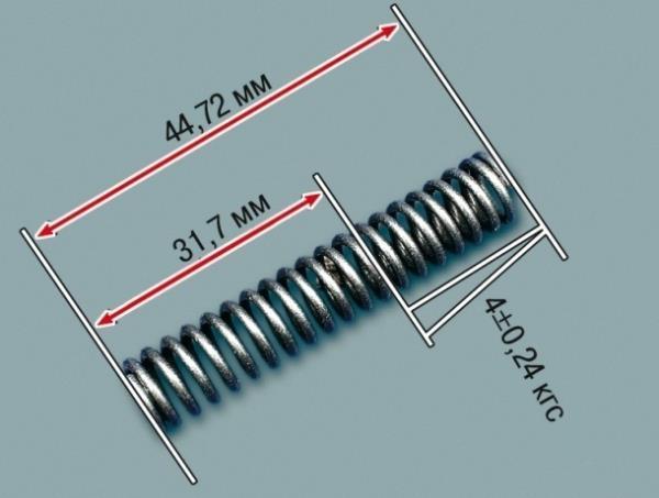 Размеры исправной пружинки редукционного клапана масляного насоса Лада Гранта (ВАЗ 2190)