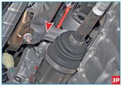 Отсоединение приемной трубы системы выпуска отработавших газов от выпускного коллектора Lada Largus