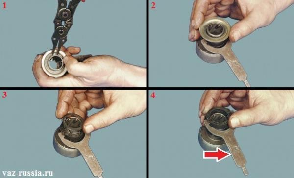 Разборка привода стартера и снятие с него в дальнейшем рычага который красной стрелкой указан