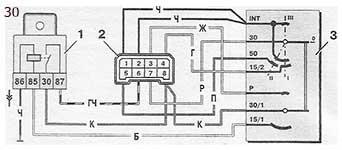 Схема соединений и коммутации выключателя зажигания