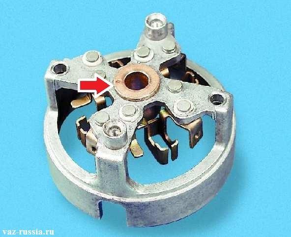 Задняя крышка статора, а стрелкой указана втулка которую нужно проверить на исправность